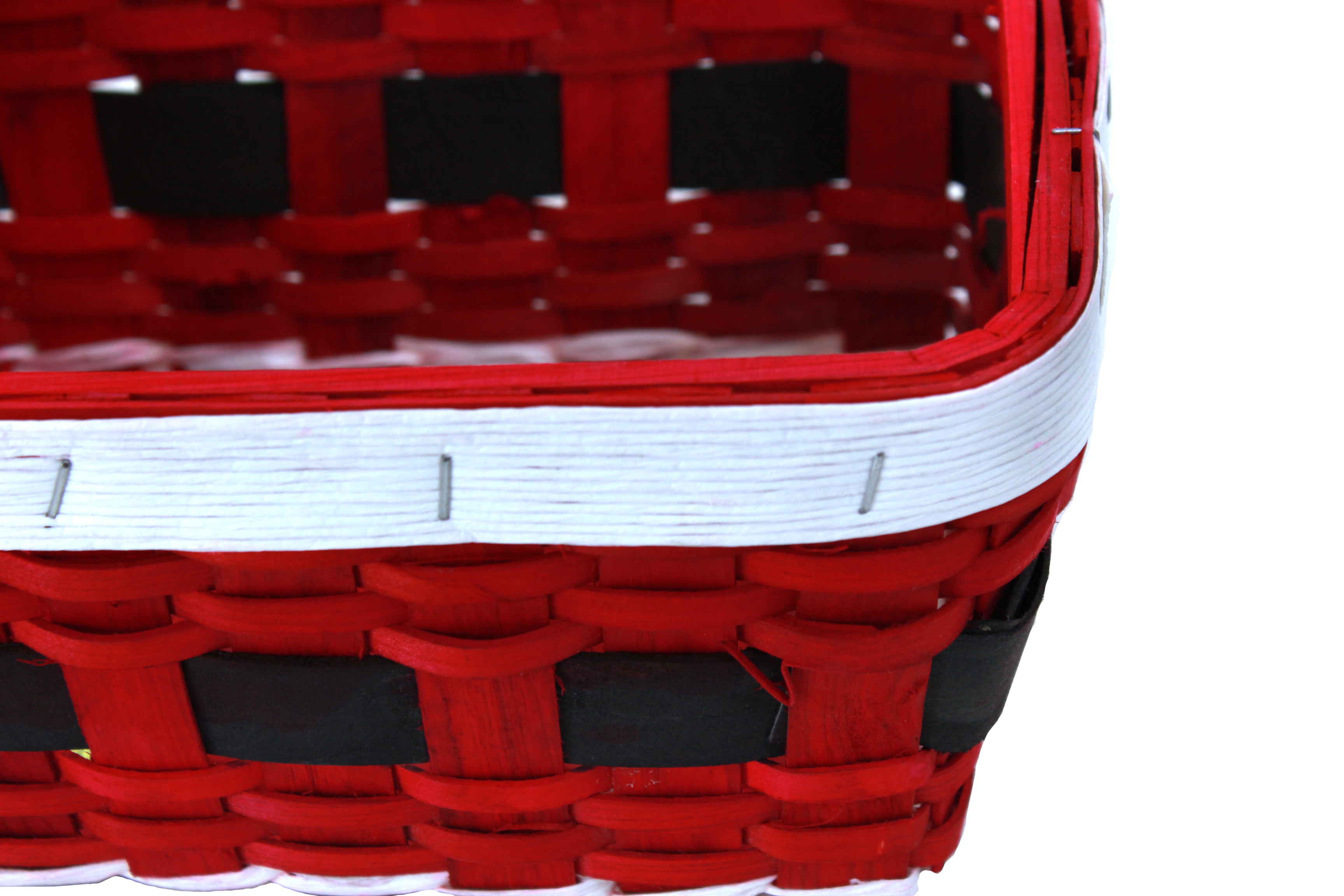 "Rectangular Red Basket ""Santa's Belt""  10"" x 7"" x 4"" close"