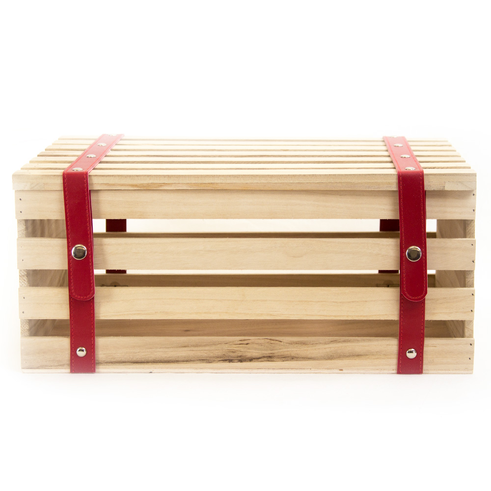 Wood Crates with Red Faux Leather Straps