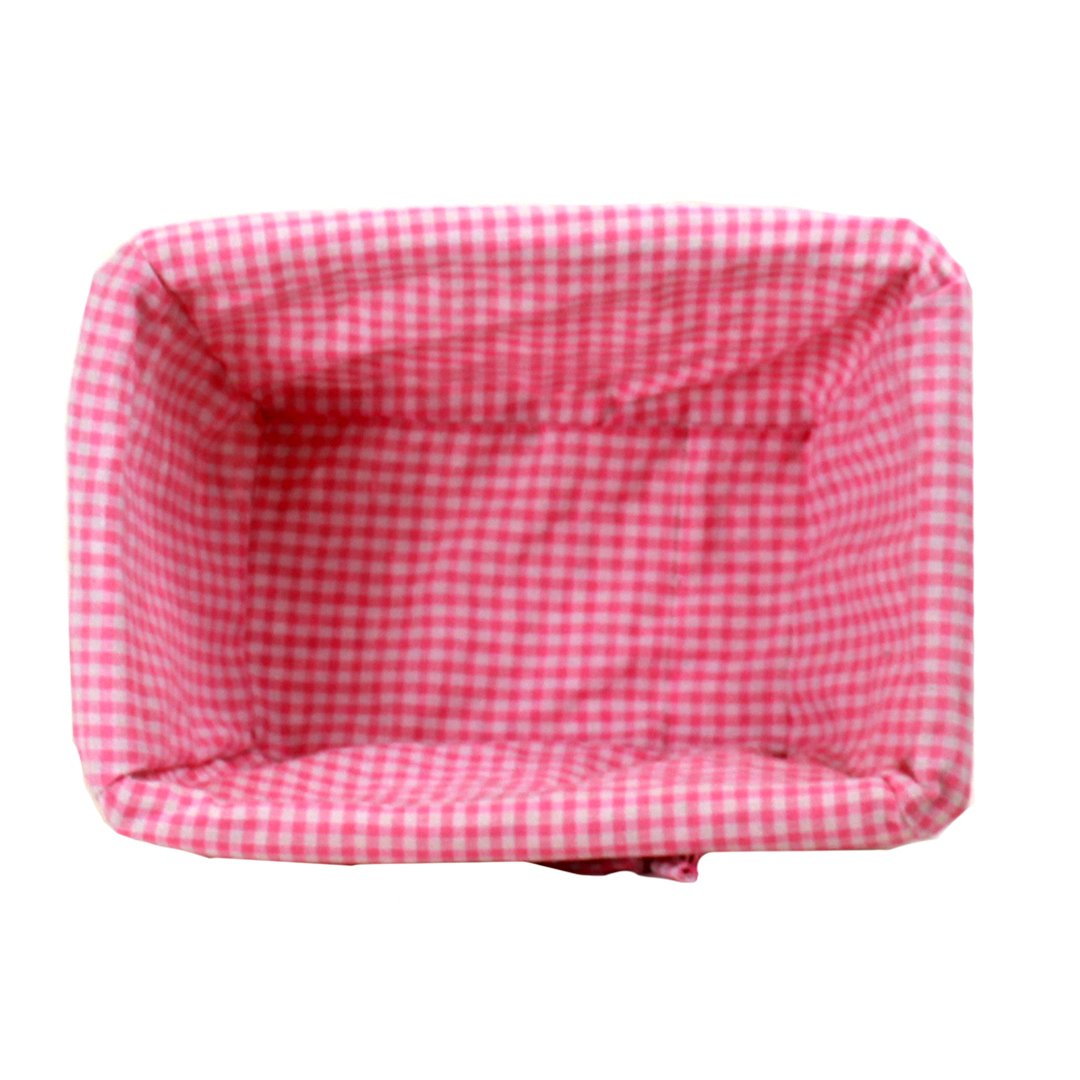 "White Baby Basket With Pink Lining 12"" x 8½"" x 5½"" top"