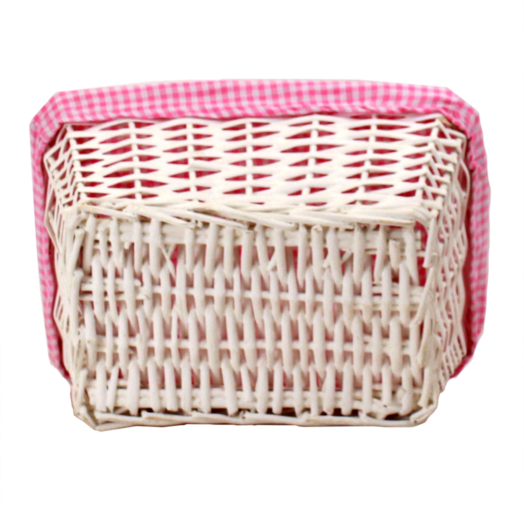 "White Baby Basket With Pink Lining 12"" x 8½"" x 5½"" bottom"