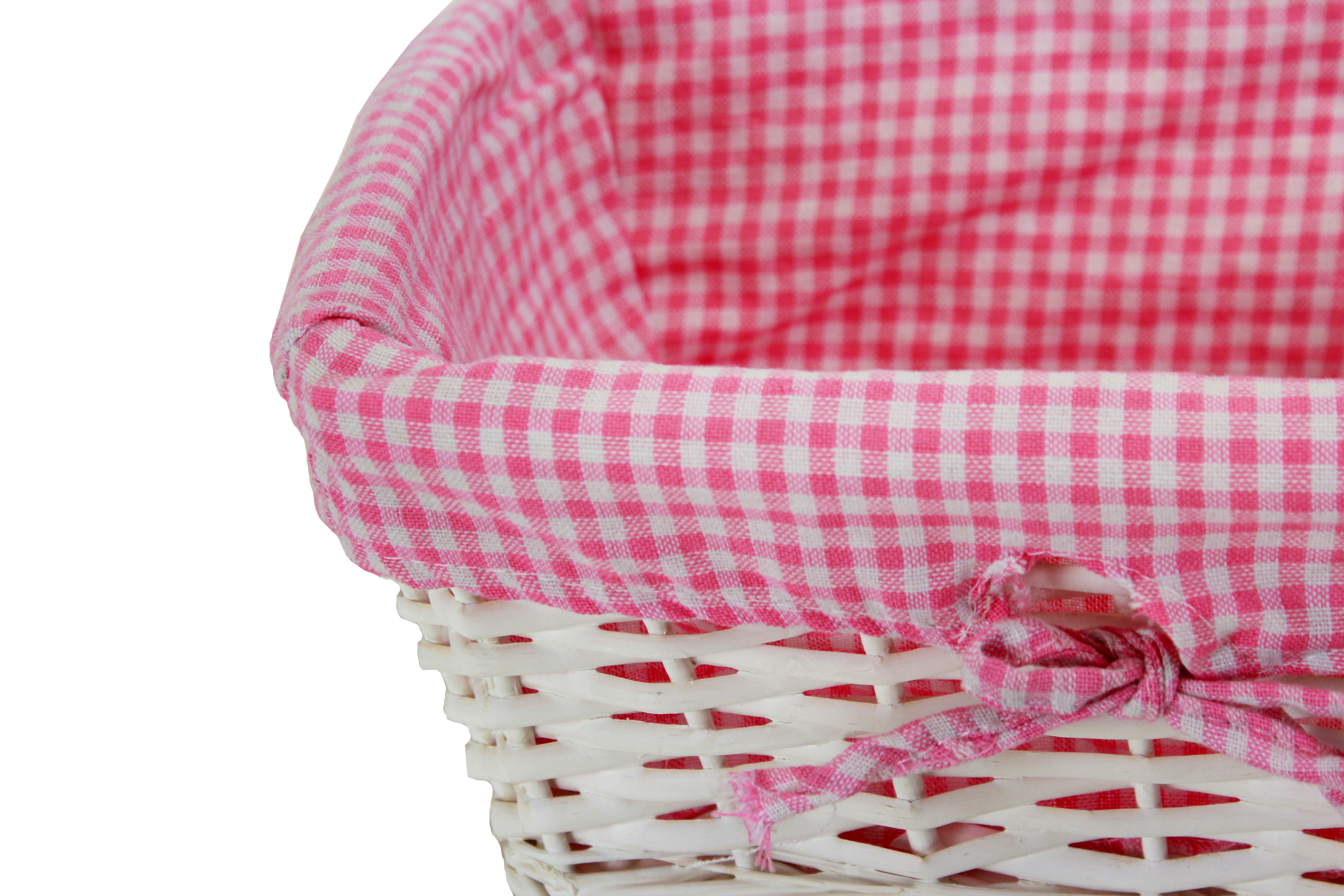 "White Baby Basket With Pink Lining 12"" x 08½"" x 5½"" close"