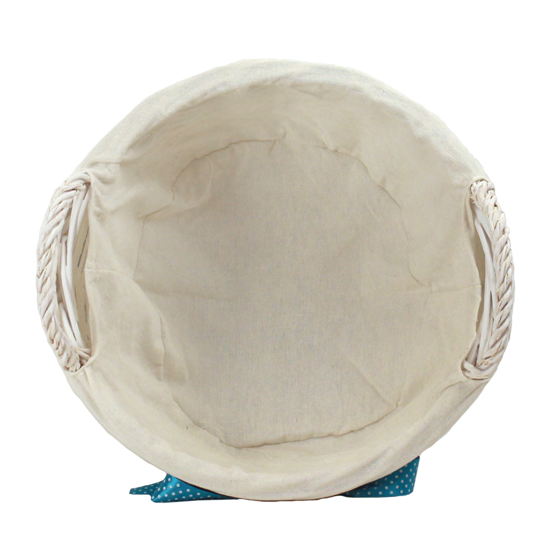 "White Round Basket With Handles & White Liner & Blue Ribbon 13"" x 5½"" top"