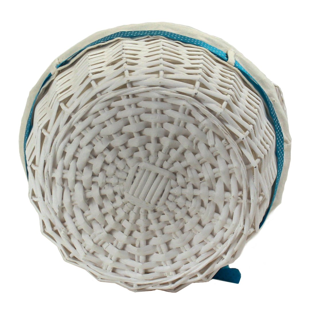 "White Round Basket With Handles & White Liner & Blue Ribbon 13"" x 5½"" back"