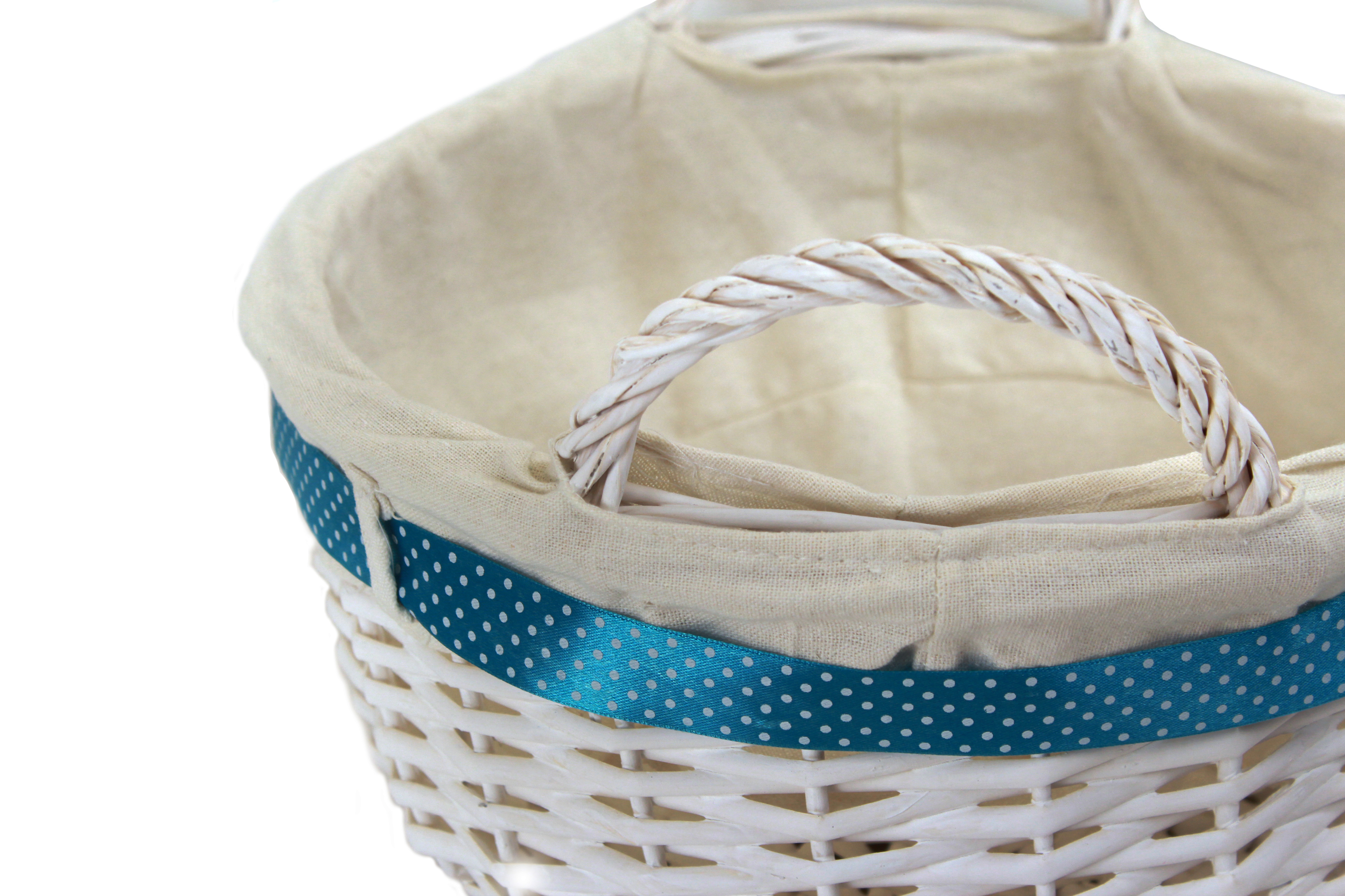 "White Round Basket With Handles & White Liner & Blue Ribbon 13"" x 5½"" close"
