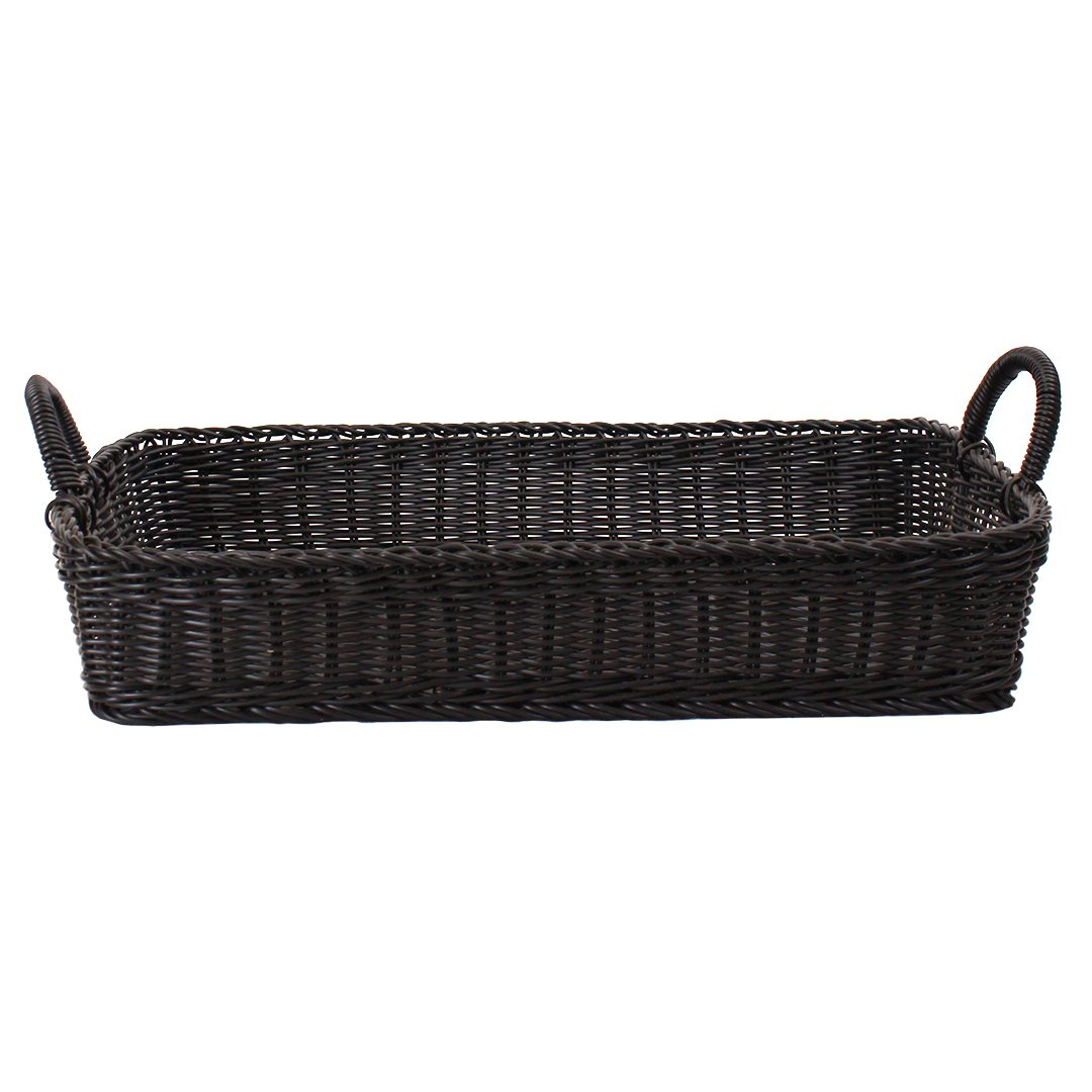 Wicker Basket - Plastic With Handles Rectangular - Black