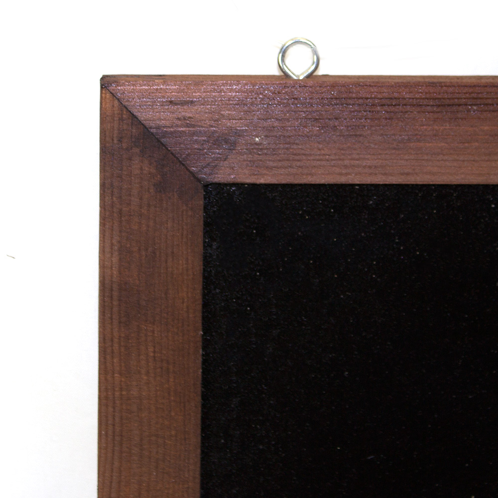 Chalkboard Sign with Brown Border - close