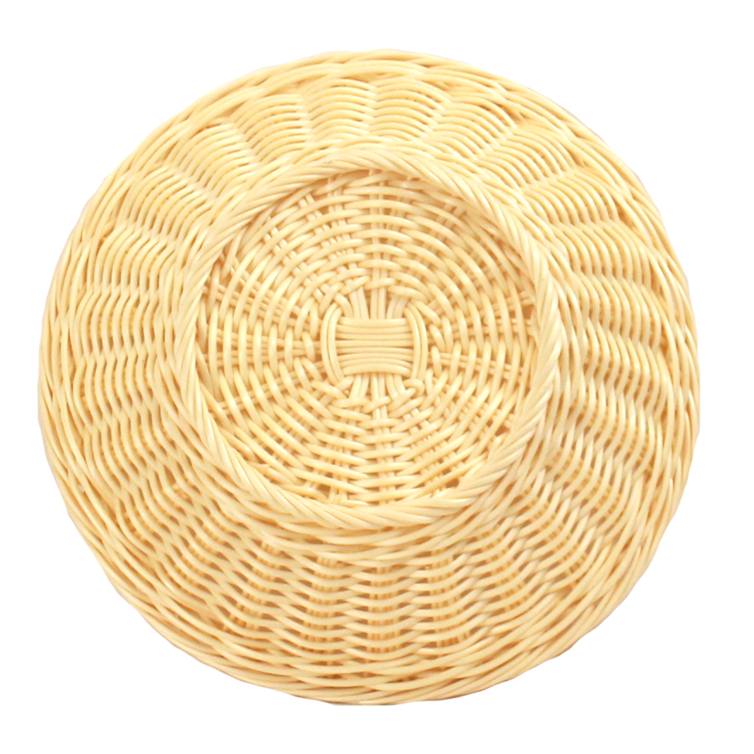 Wicker Basket - Plastic Round- Beige