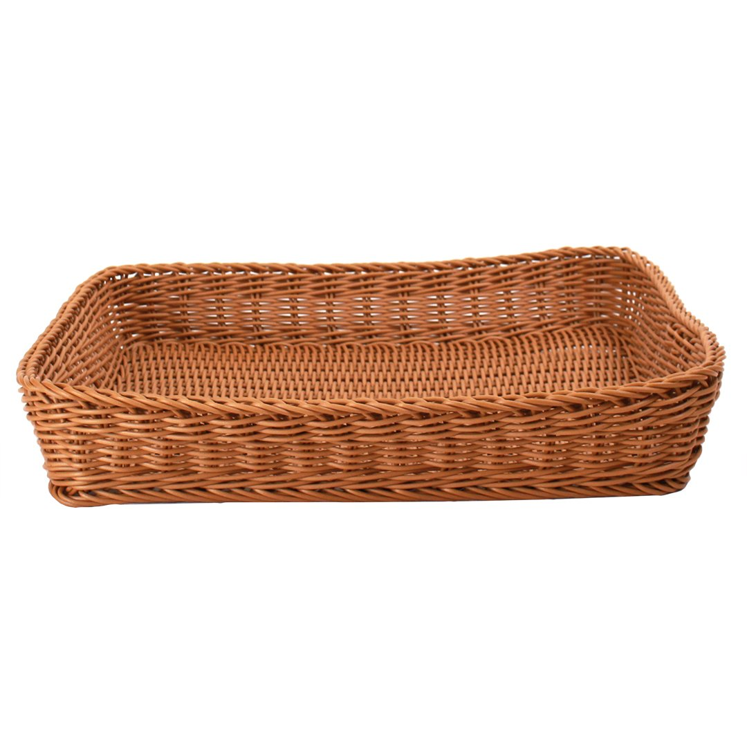 "Square Plastic Basket 18"" x 18"" x 3""brown front"