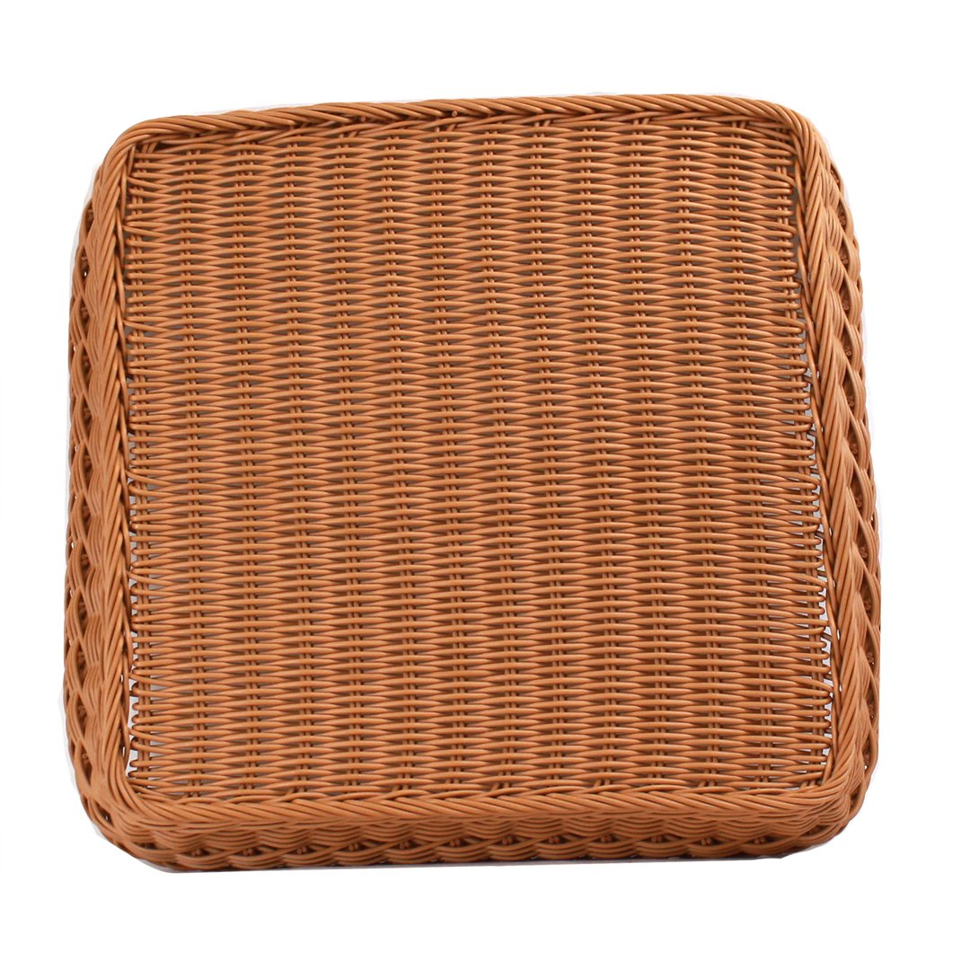 "Square Plastic Basket 18"" x 18"" x 3""brownbottom"