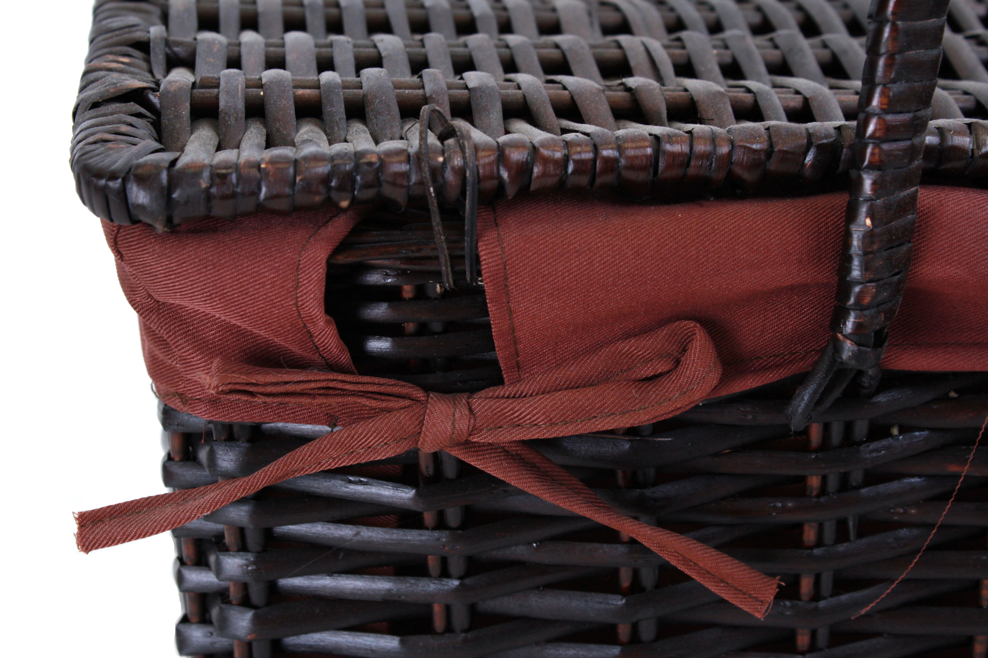 "Dark Brown Picnic Basket With Lining And Handles 17"" x 12"" x 11"""