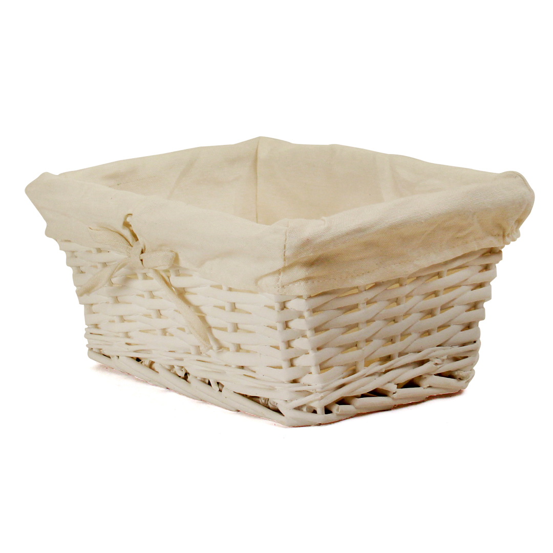 "White Baby Basket With White Lining 12"" x 8½"" x 5½"""