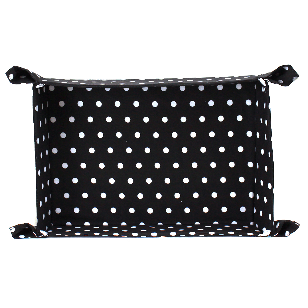 Set/4 Black Fabric Plates With White Dots
