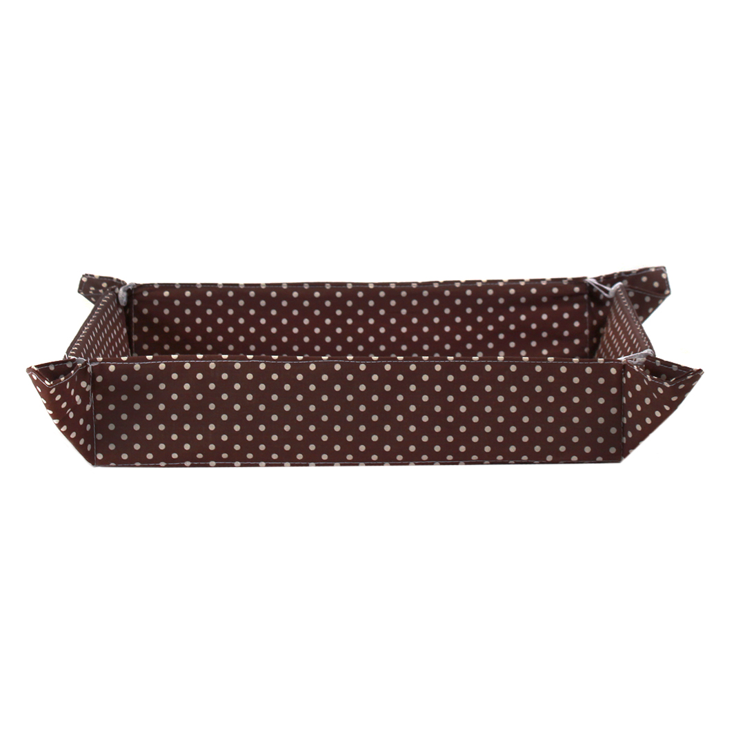 Set/4 Brown Fabric Plates With White Dots