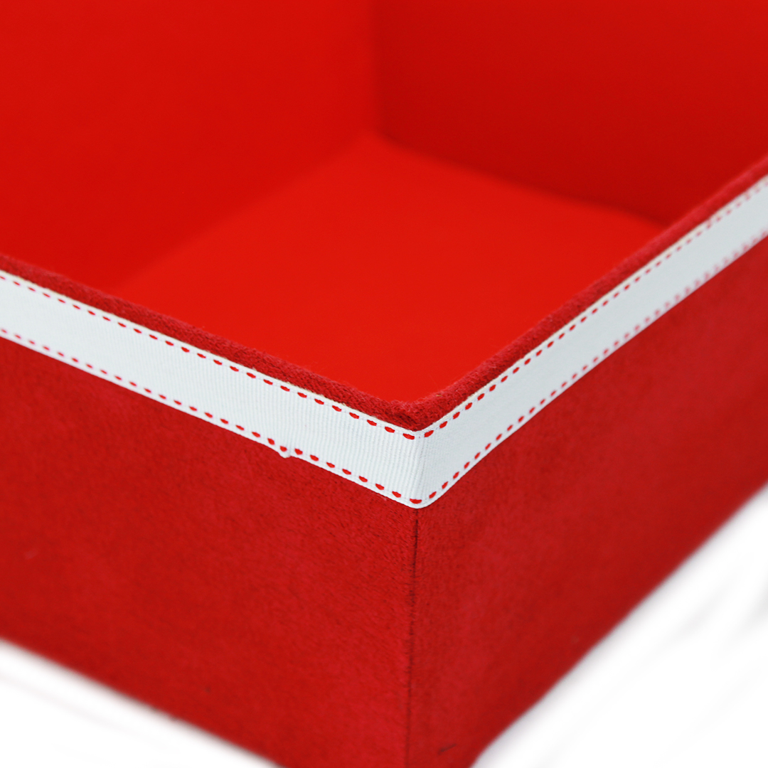 "Red Fabric Container 12"" x 9.5"" x 4.75"""