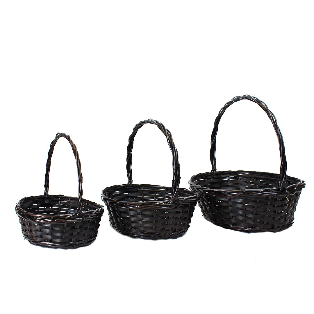Oval Brown Basket With Handle