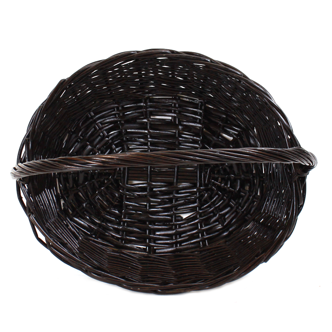 Dark Brown Oval Baskets With Handle