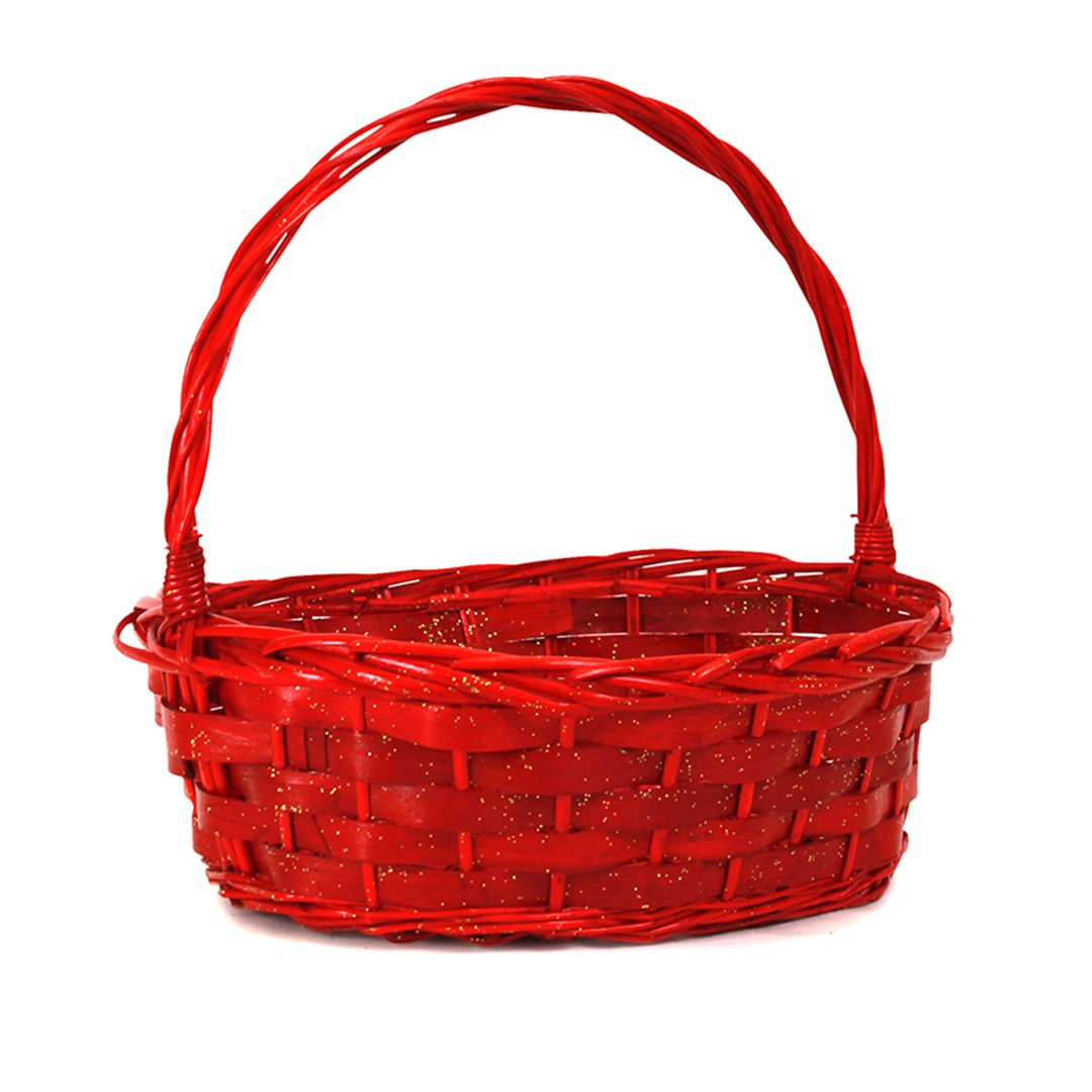 Oval Red Baskets with Handle side