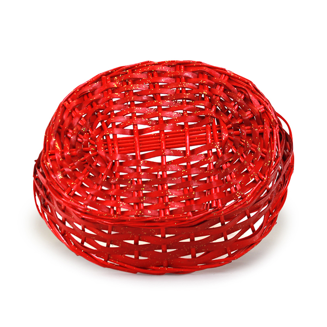 Oval Red Baskets with Handle bottom