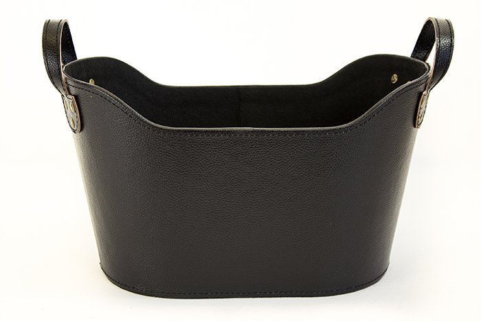 "Black Faux Leather Container 13"" x 8"" x 7.5"""