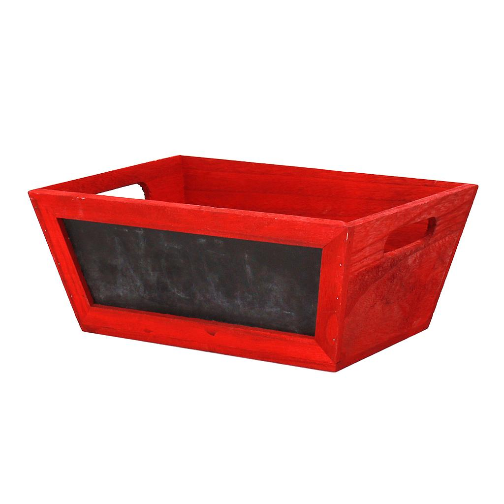 Rectangular Red Wood Basket with Chalkboard