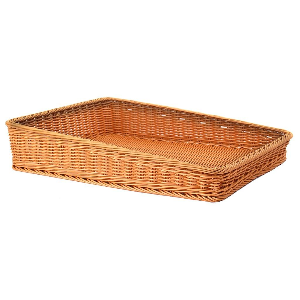 foodSURV™ 17¾'' x 23½'' x 2½''/ 4¾'' Rectangular Synthetic Bakery Basket - Brown