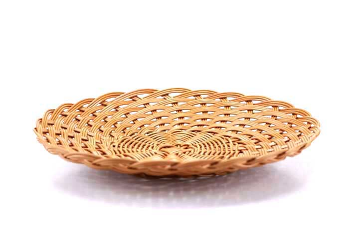Wicker Basket - Plastic Round- Brown