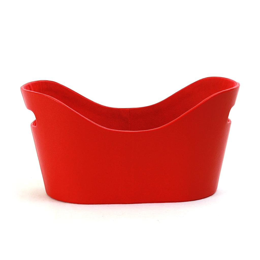 "Red Faux Leather Container 12"" x 6.5"" x 6"""