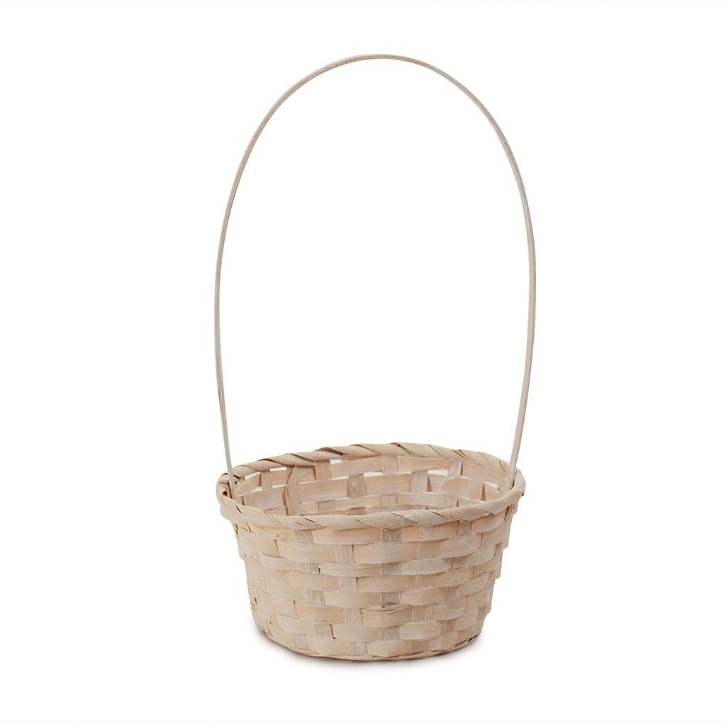 White Round Bamboo Baskets