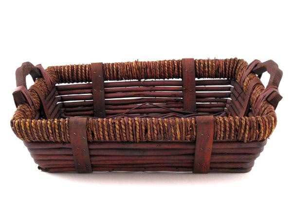 Dark Brown Rectangular Baskets With Handles