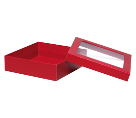Large Red Box With Window  7¾'' x 7¾'' x 2 1/8''