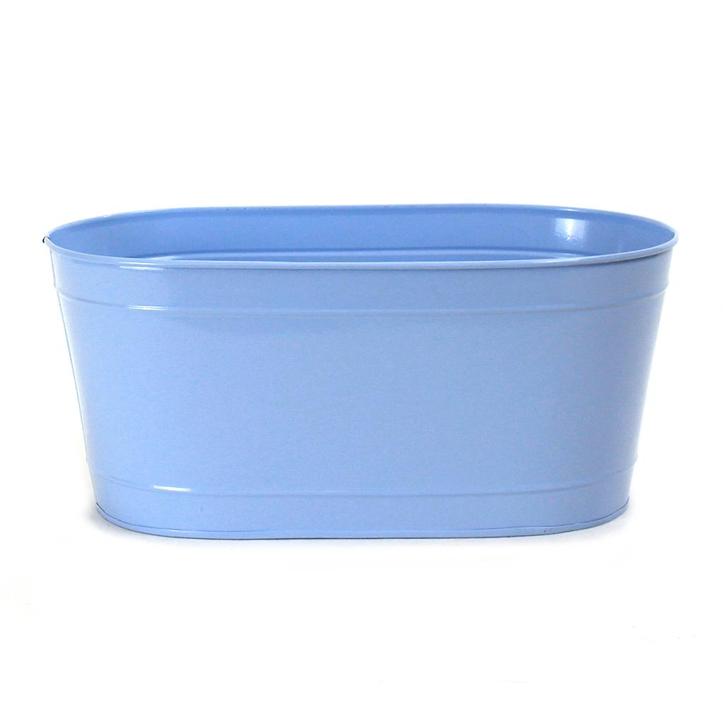 "Oval Light Blue Metal Planter 13½"" x 7½"" x 6"""