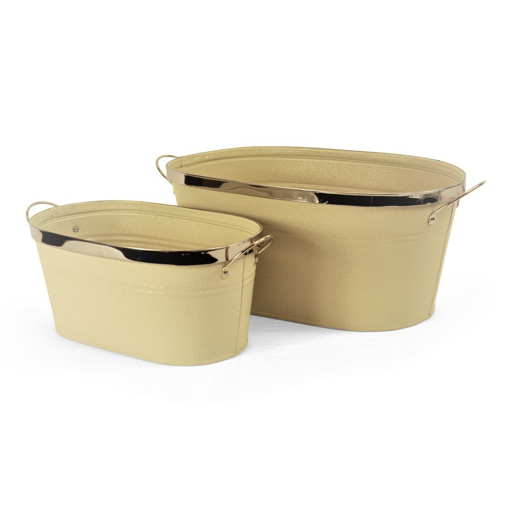 White Oval Metal Planter With Handles