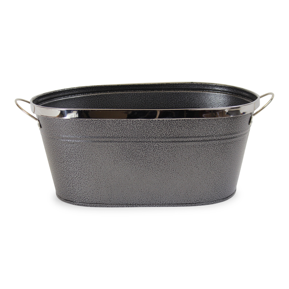 Black Oval Metal Planter With Handles