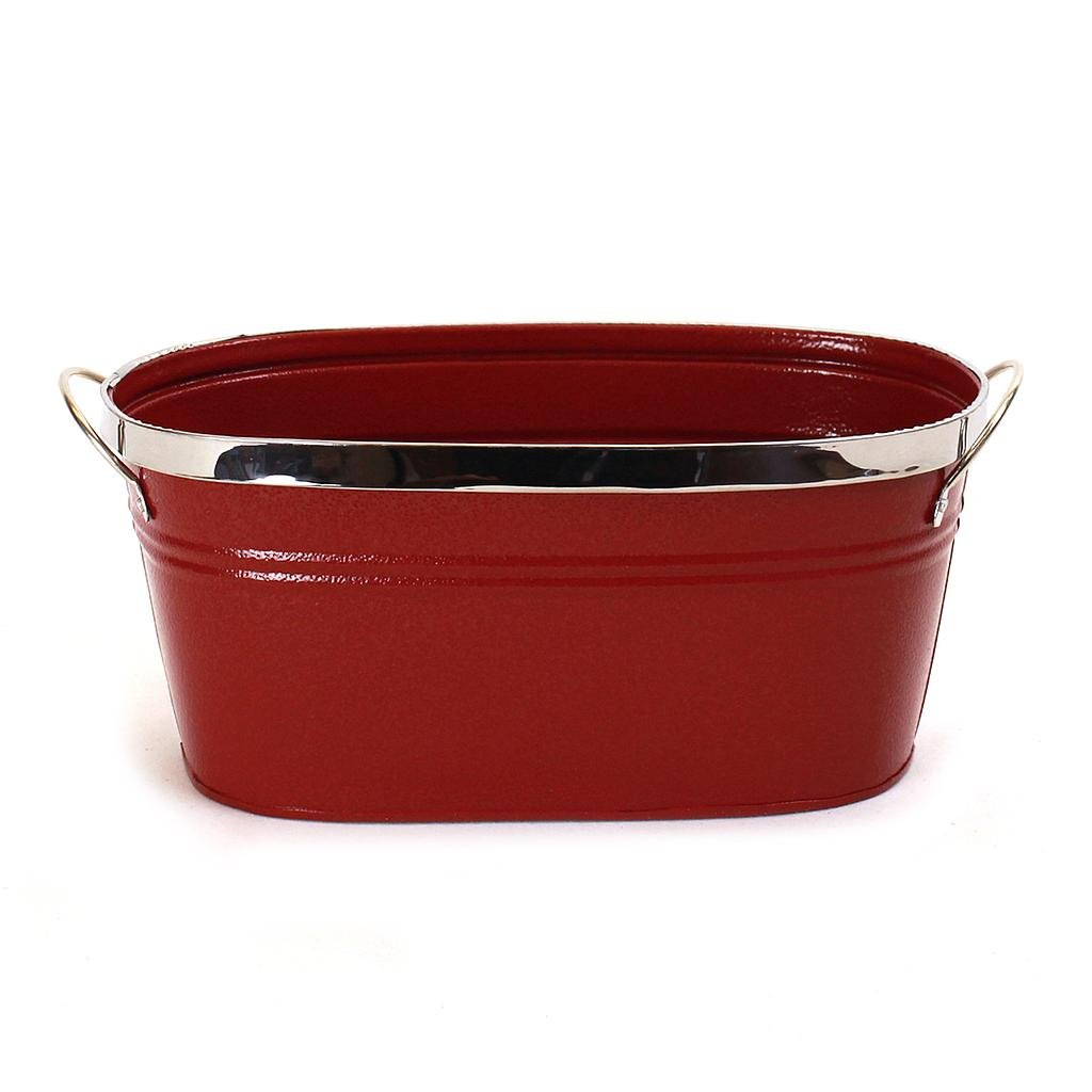 "Red Oval Metal Planter With Handles 10½"" x 5¾"" x 4¾"""