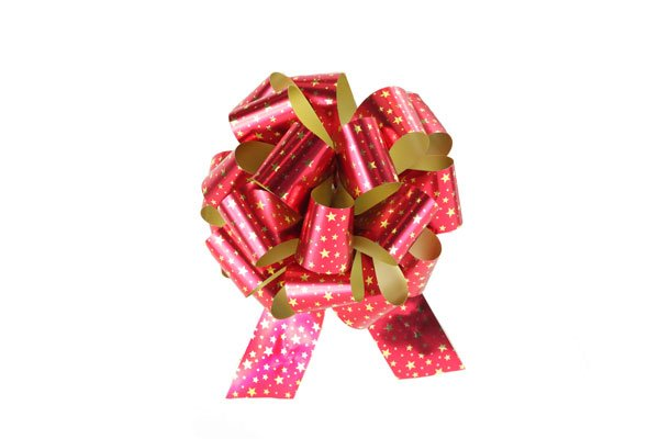 Pull Bow 8'' Metallic Red with Gold Stars