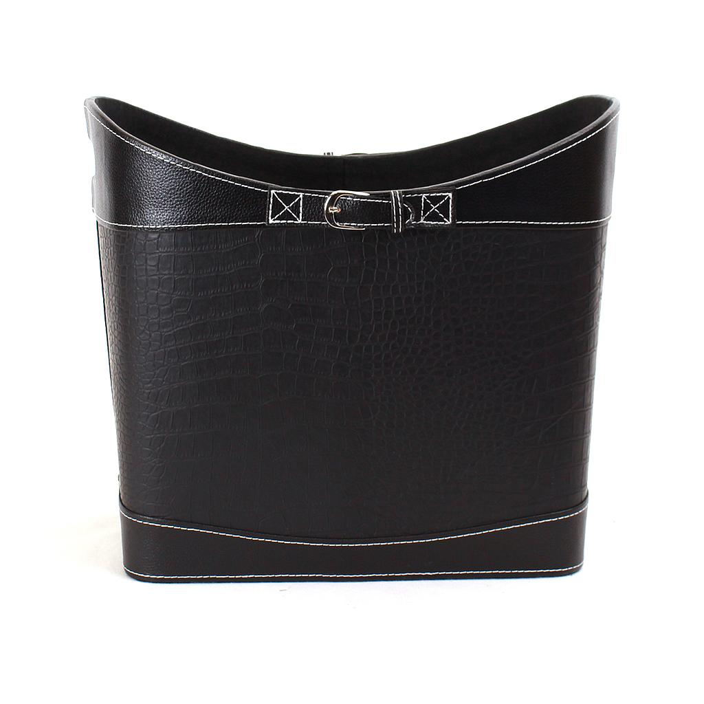 "Black Faux Leather Container 15"" x 9"" x 11"""