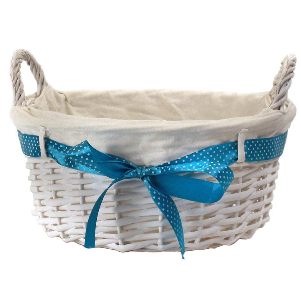 "White Round Basket With Handles & White Liner & Blue Ribbon 13"" x 5½"""