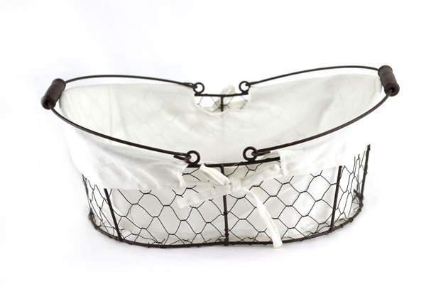 Metal Oval Wire Baskets with Liner and Handle