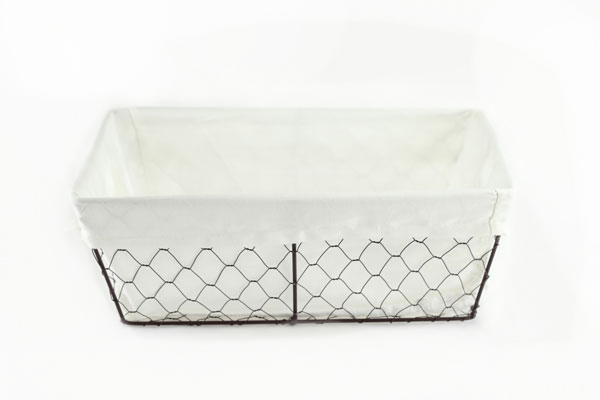 Metal Rectangular Wire Baskets with Liner and Handles