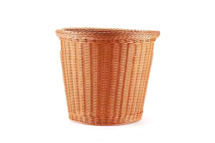 Basket - Plastic Wicker Round - Brown