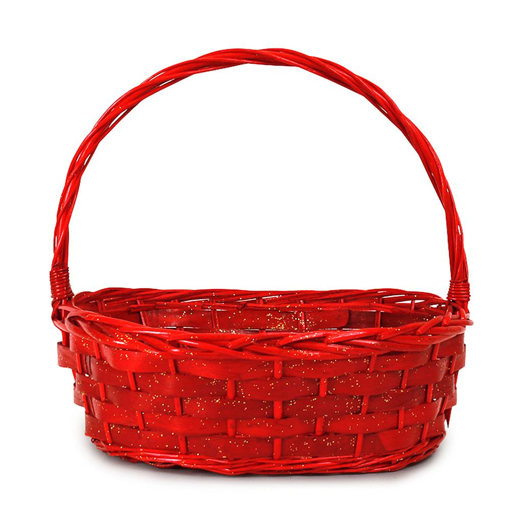 Oval Red Baskets with Handle