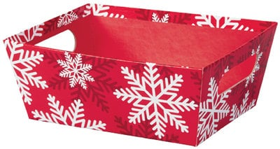 Market Tray Red & White Snowflakes