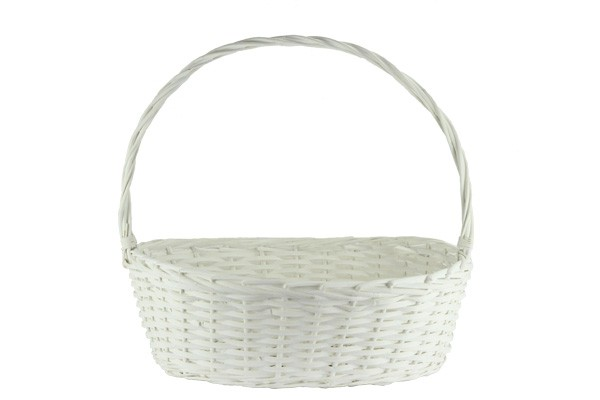 Oval White Baskets With Handle