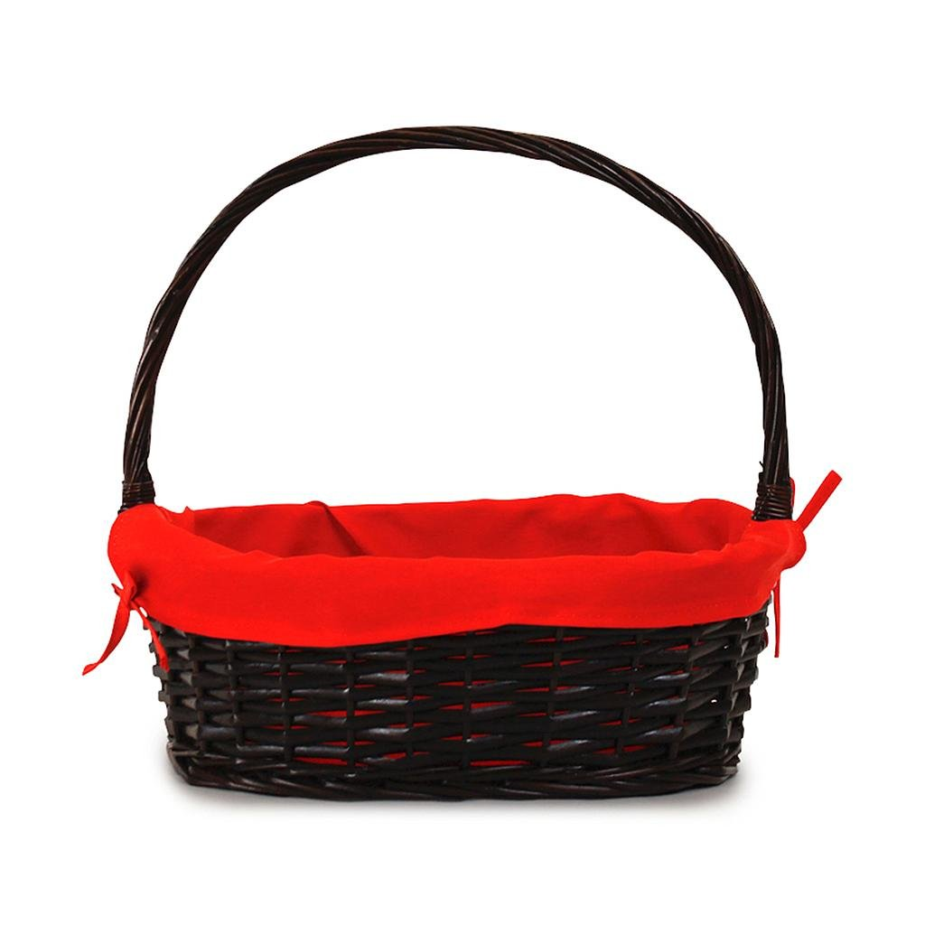 Oval Baskets With Red Liner & Handle