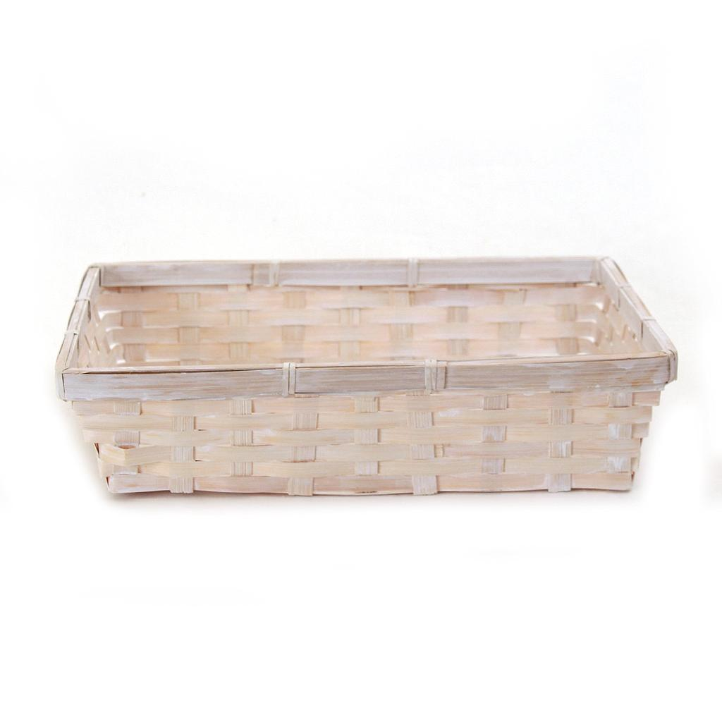 "White Rectangular Basket 12.5"" x 9.5"" x 3"""