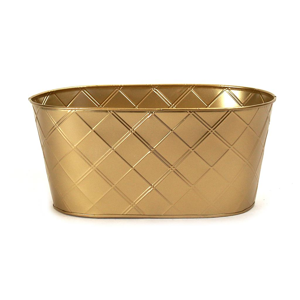 Gold Oval Metal Basket 13'' x 8'' x 6''
