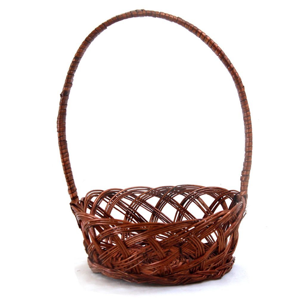 "Round Brown Basket With Handle 10"" x 4"""