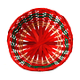 "Red and Green Round Basket  9"" x 9"" x 4"" top"