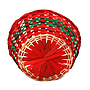 "Red and Green Round Basket  9"" x 9"" x 4"" bottom"