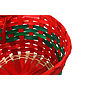 "Red and Green Round Basket  9"" x 9"" x 4"" close"